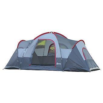 Outsunny 5-6 Man Dome Camping Tent Hiking Shelter UV Protection Water Resistant Tunnel Sun Shade - Grey