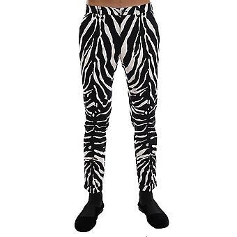 Dolce & Gabbana White Black Zebra Cotton Stretch Slim Pants