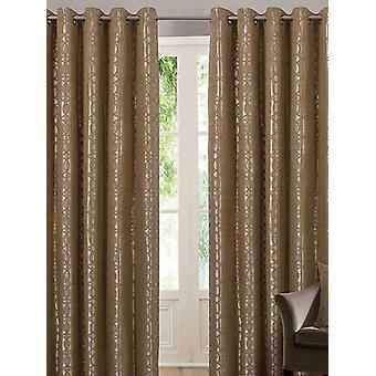 Belle Maison Lined Eyelet Curtains, Tuscany Range, 66x90 Ochre