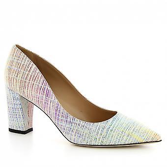 Leonardo Shoes Women's handmade heels pumps shoes in multicolor suede leather