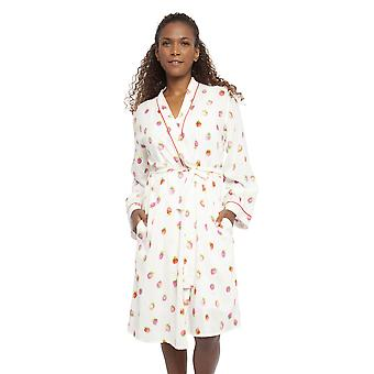 Cyberjammies 4456 Women's Sophia Cream Off White Strawberry Print Cotton Short Robe