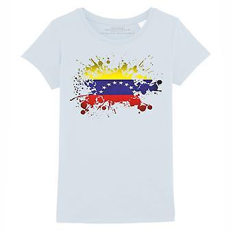 STUFF4 Girl's Round Neck T-Shirt/Venezuela/Venezuelan Flag Splat/Baby Blue