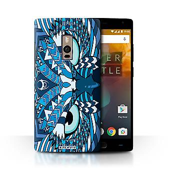 STUFF4 Case/Cover for OnePlus 2/Two/Owl-Blue/Aztec Animal Design