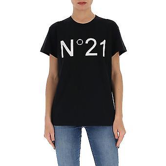 N°21 F01163149000 Women's Black Cotton T-shirt
