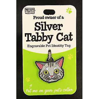 Wags & Whiskers Pet Cat Identity Tag - Silver Tabby Cat