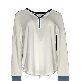 Cuddl Duds Women's Petite Pajama Top Grid Fleece Split Neck White A369288