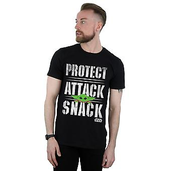Star Wars Men's Mandalorian Protect Attack Snack T-paita
