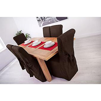 Chocolate Brown Linen Look Fabric Upholstered Slipcovers for Scroll Top Dining Chairs - 4 Pack