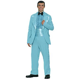 Prom King Blue smoking Suit 1950 1960 Old School Mens costume padrão