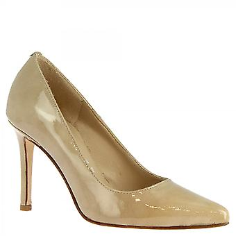 Leonardo Shoes Women's handmade high heels pumps shoes in beige shiny leather