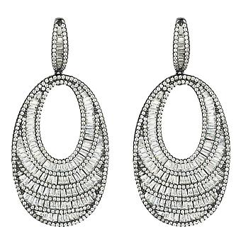 Oval Round Large Statement Drop Earrings White CZ Bridal Wedding Black Silver