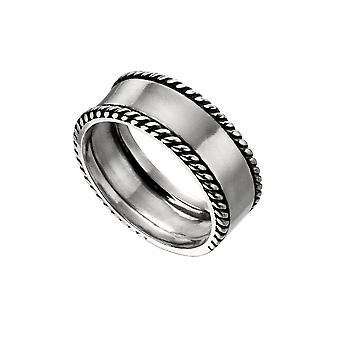 Begin Sterling Silver Plain Band Rope Edge Detail Ring R3721