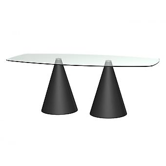 Gillmore Rectangular Clear Glass Dining Table With Conical Black Base