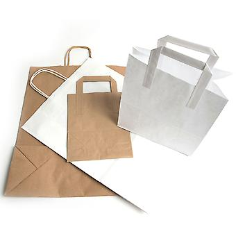 Weller Large Brown Kraft Paper Tape Handle Takeaway Bags