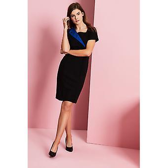 SIMON JERSEY Feature Lapel Dress, Cobalt Blue