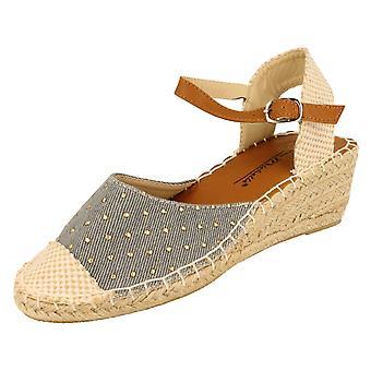 Anne Michelle Womens/Ladies Denim Design Wedge Sandals