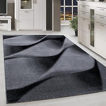 Shortflor Rug Waves Pattern Grey Black Melted Living Room Rug
