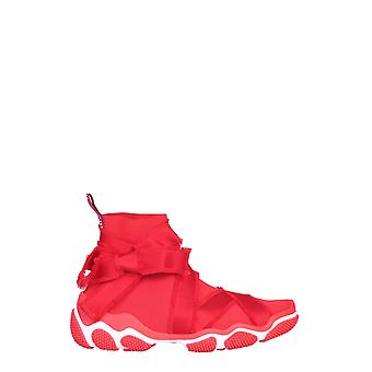 Red Valentino Tq2s0b89gqacc7 Women's Red Elastane Hi Top Sneakers