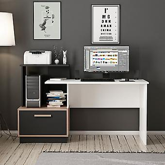 Milas Desk Color White, Walnut, Preto em Chip Melaminic 154x60x93 cm