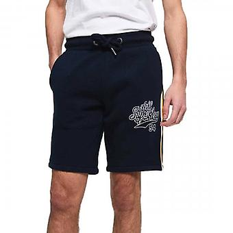 Superdry College Applique Jersey Jogging Shorts Smoke Navy 11S