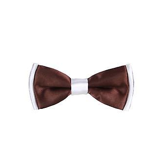Ragazzi pre-legato regolabile collo Strap Kids Bowtie con fazzoletto In marrone e bianco
