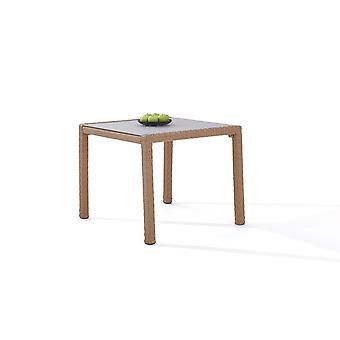 Polyrattan Table à manger 90 cm - caramel