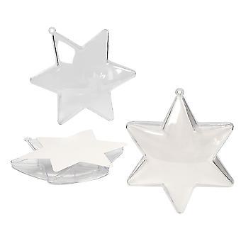 5 étoiles en forme 100mm clair en plastique à deux parties Ornements de babioles de Noel