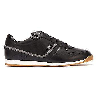 BOSS Glaze Leather Embossed Low Mens Black Trainers