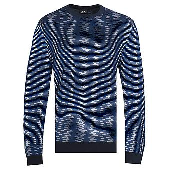 Armani Exchange Pullover Crew Collo Tonal Blue Maglione