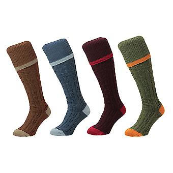 Bisley Shooting Socks - Cable Stripe - Wool Blend traditional hunting stockings