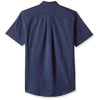 Essentials Men's Slim-Fit Short-Sleeve Pocket Oxford Shirt, Navy, X-Large