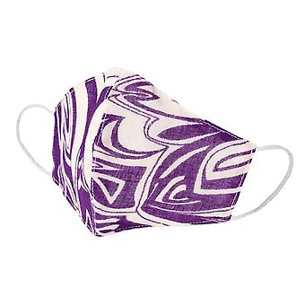 Purple Freestyle Leaf Print Cotton Face Mask