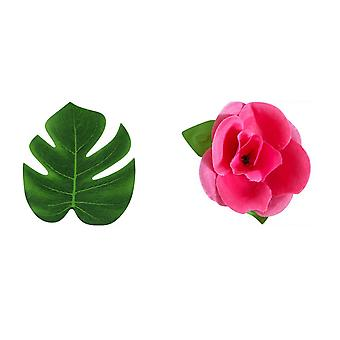 Artificial Monstera Fake Green Leaf and Rose Flower Medium