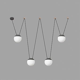 4 Light Ceiling Pendant Wood, Dark Grey, E27