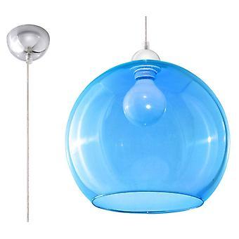Sollux BALL - 1 Pendente de Teto da Cúpula de Vidro Leve Azul, Cromo, E27