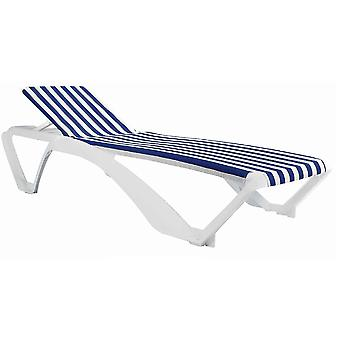 Resol Marina Garden Sun Lounger Bed - Adjustable Reclining Outdoor Summer Furniture - White, Blue Stripe