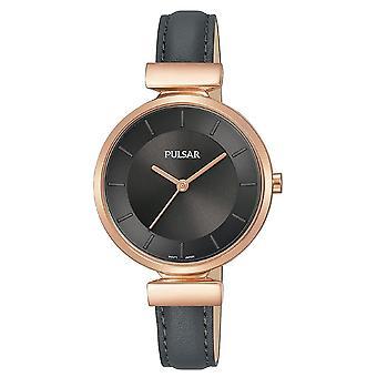 Pulsar Ladies Black Leather Strap Rose Gold Case 50M Watch (Model No. PH8420X1)