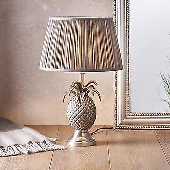 Plaque d'étain de lampe de table et soie grise de charbon de bois 1 IP20 léger - E27