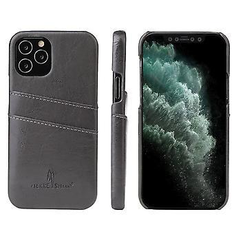 För iPhone 12 Pro Max fall Deluxe läder plånbok tillbaka Shell Slim Cover Grey
