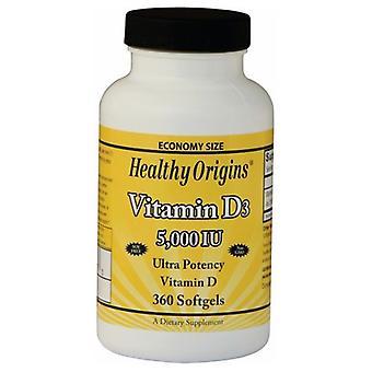Origines saines Vitamine D3 végétarienne, 5000 UI, 360 Gels végétariens
