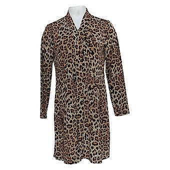 Susan Graver Women's Petite Sweater Printed Duster Cardigan Brown A366175