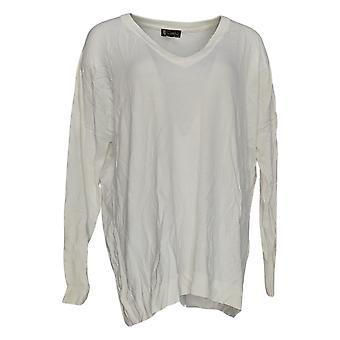DG2 by Diane Gilman Women's Sweater V-Neck Boyfriend Pullover White 621-058