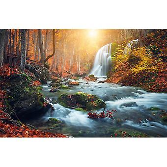 Vægmaleri smukke vandfald på Mountain River