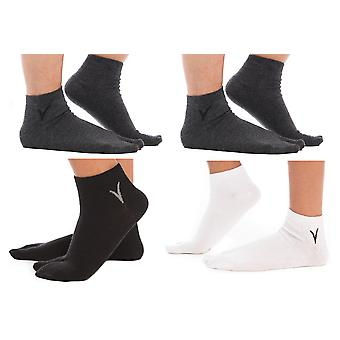 White, Black, 2 Gunmetal Grey Ankle Flip-flop Tabi Big Socks-4 Pairs