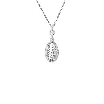 Cowrie Shell Small Sparkling Pendant Necklace Silver