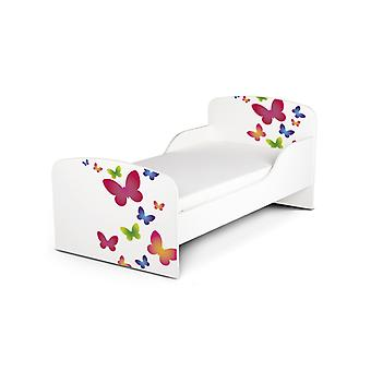 PriceRightHome Butterflies Toddler Bed with Fibre Mattress