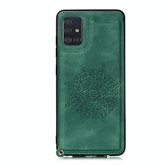 For Samsung Galaxy A51 Mandala Embossed PU + TPU Case with Holder & Card Slots & Photo Frame & Strap(Green)