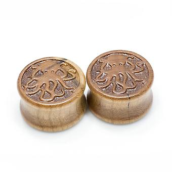 """Pair of organic cherry wood octopus saddle-fit ear plugs - 00 gauge to 3/4"""" inch"""
