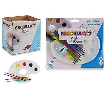 Målningsuppsättning Palett Penslar Plast (10 stycken)
