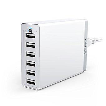Anker 60w 6-porttinen perheen kokoinen työpöydän USB-laturi poweriq-tekniikalla iphonelle, ipadille, samsungille